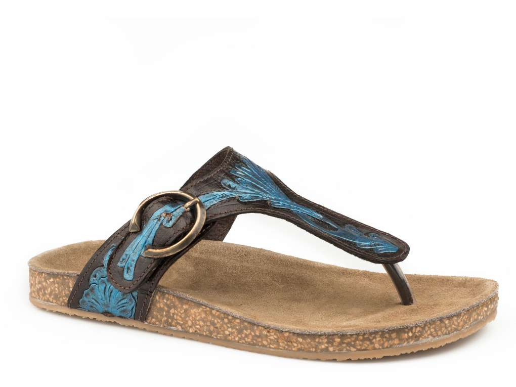ROPER LADIES MIRA BROWN/BLUE LEATHER