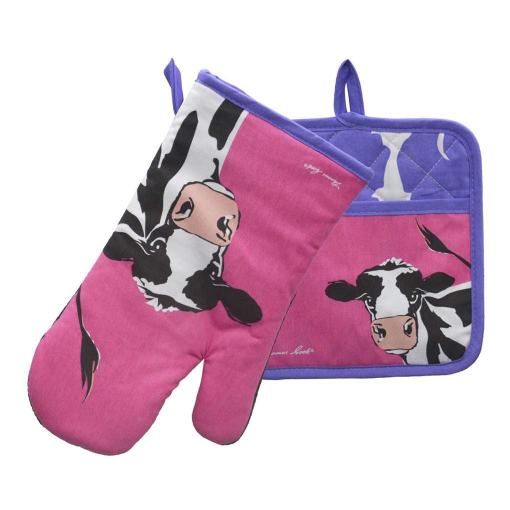 THOMAS COOK OVEN MITT & POT HOLDER SET CLEO COW