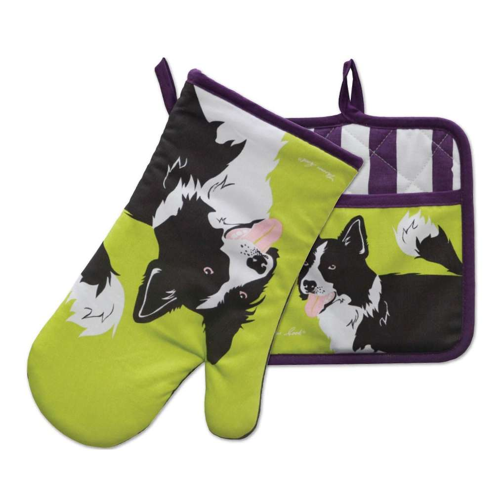 THOMAS COOK OVEN MITT & POT HOLDER SET BORDER COLLIE