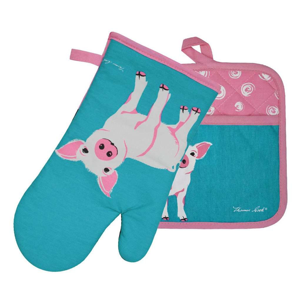 THOMAS COOK OVEN MITT & POT HOLDER SET PIGLET