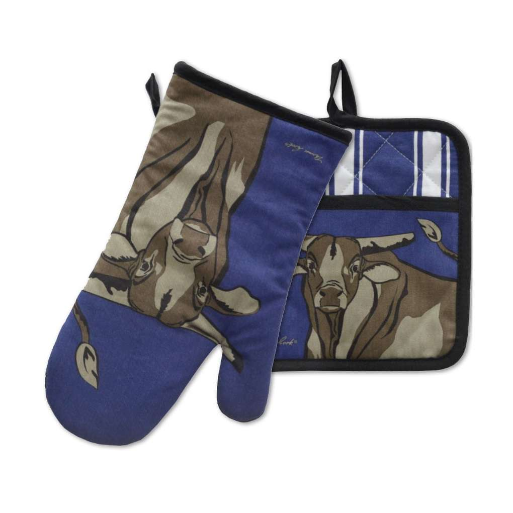 THOMAS COOK OVEN MITT & POT HOLDER SET BULL