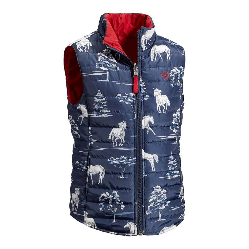 ARIAT GIRLS EMMA REVERSIBLE VEST PASTURE PRINT