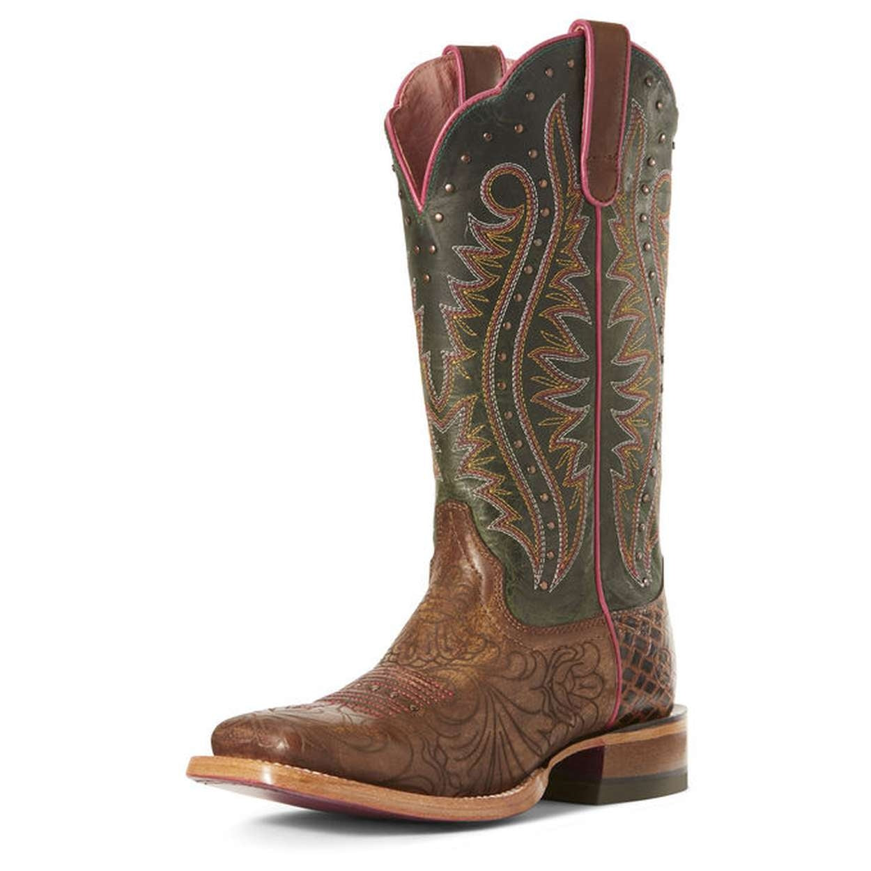 ARIAT LADIES MONTAGE LASERED FLORAL BROWN BOOTS