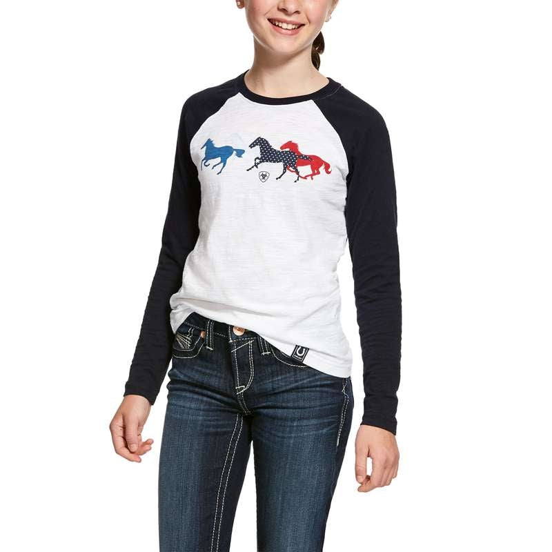 ARIAT GIRLS RUNNING HORSE TEE L/S