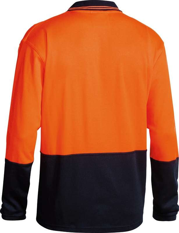 BISLEY 2 TONE HIVIS CONTRAST POLO LONG SLEEVE BK6234 Orange/Navy