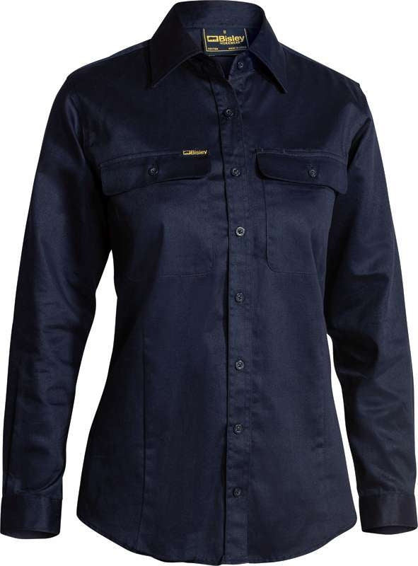 BISLEY LADIES L/S DRILL SHIRT NAVY BL6339