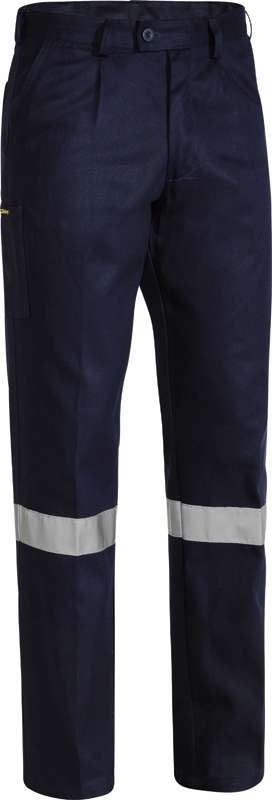 BISLEY DRILL WORK PANT NAVY BP6007T WITH TAPE
