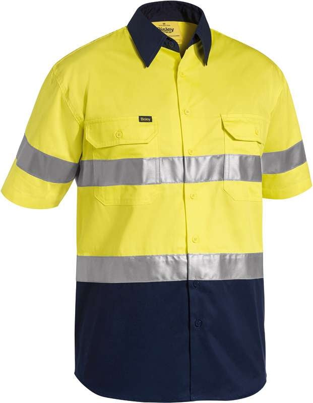 BISLEY HIVIS 2 TONE LIGHT WEIGHT SHORT SLV SHIRT WITH 3M TAPE BS1896 Yellow/Navy