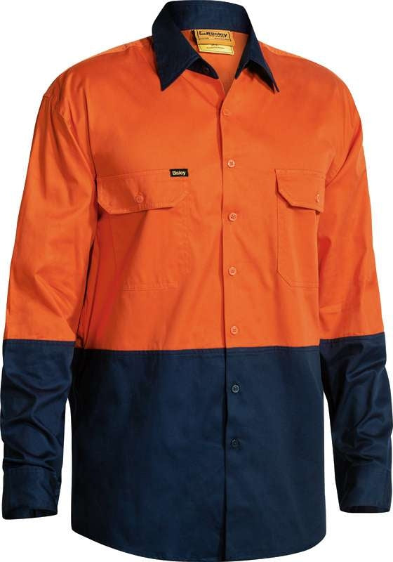 BISLEY HIVIS 2 TONE LIGHT WEIGHT DRILL SHIRT BS6895 Orange/Navy