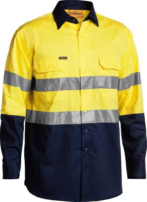 BISLEY HIVIS 2 TONE LIGHTWEIGHT SHIRT WITH 3M TAPE BS6896 Yellow/Navy