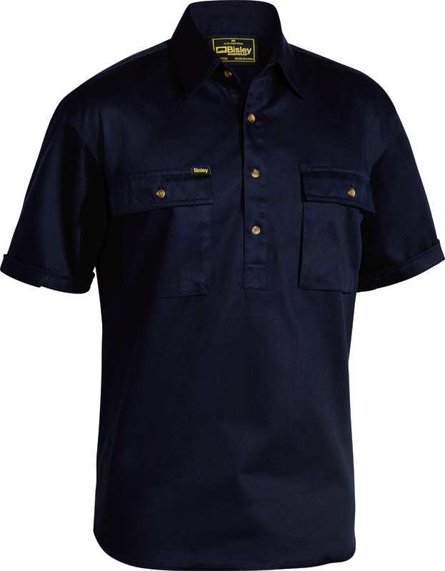 BISLEY CLOSED FRONT DRILL SHIRT SHORT SLV BSC1433 Navy