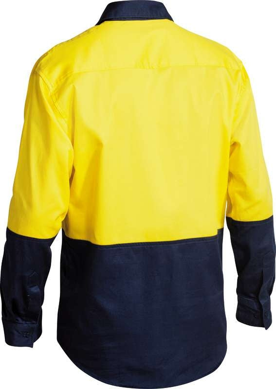 BISLEY HIVIS 2 TONE CLOSED FRONT DRILL SHIRT BSC6267 Yellow/Navy