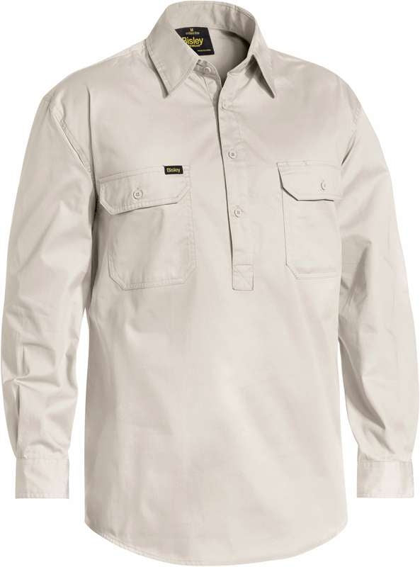 Bisley Closed Front Light Weight Drill Shirt Stone