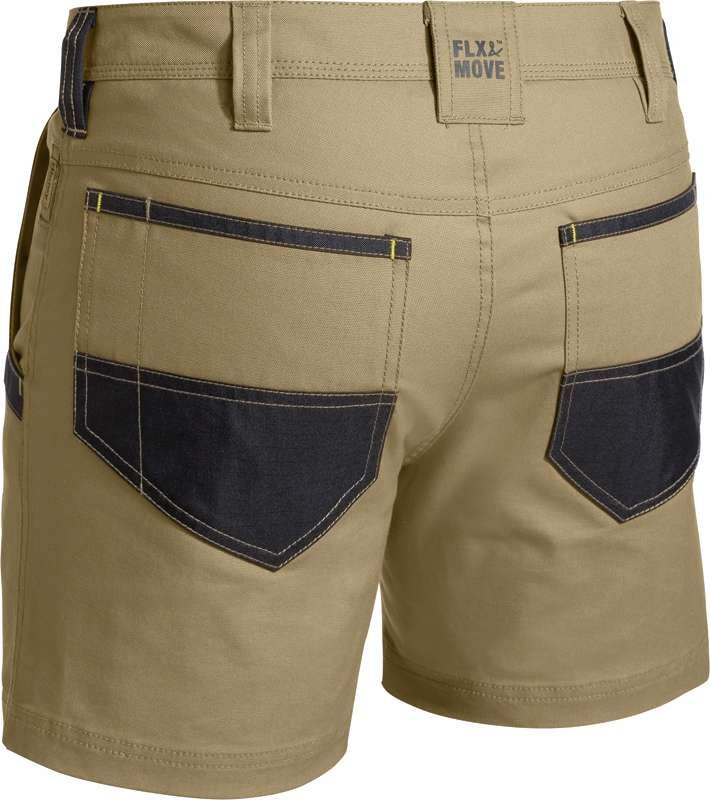 BISLEY FLEX & MOVE SHORTS KHAKI FRONT