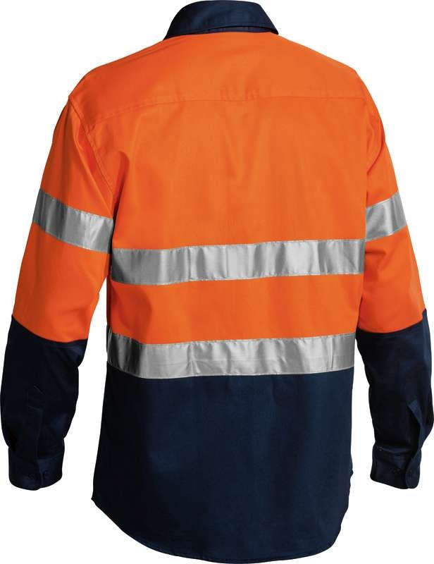 BISLEY HIVIS 2 TONE DRILL SHIRT WITH 3M TAPE BT6456 Orange/Navy
