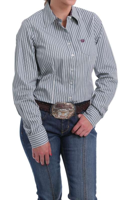 CINCH LADIES PERFORMANCE SHIRT PIN STRIPE FRONT