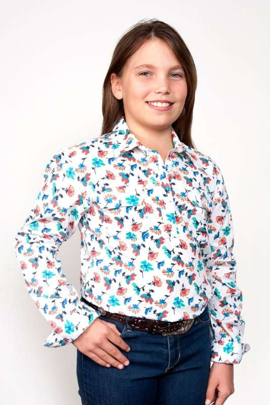 JCA GIRLS HARPER FLORAL HALF BUTTON SHIRT