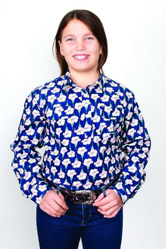 JCA GIRLS HARPER HALF BUTTON NAVY FORAL SHIRT