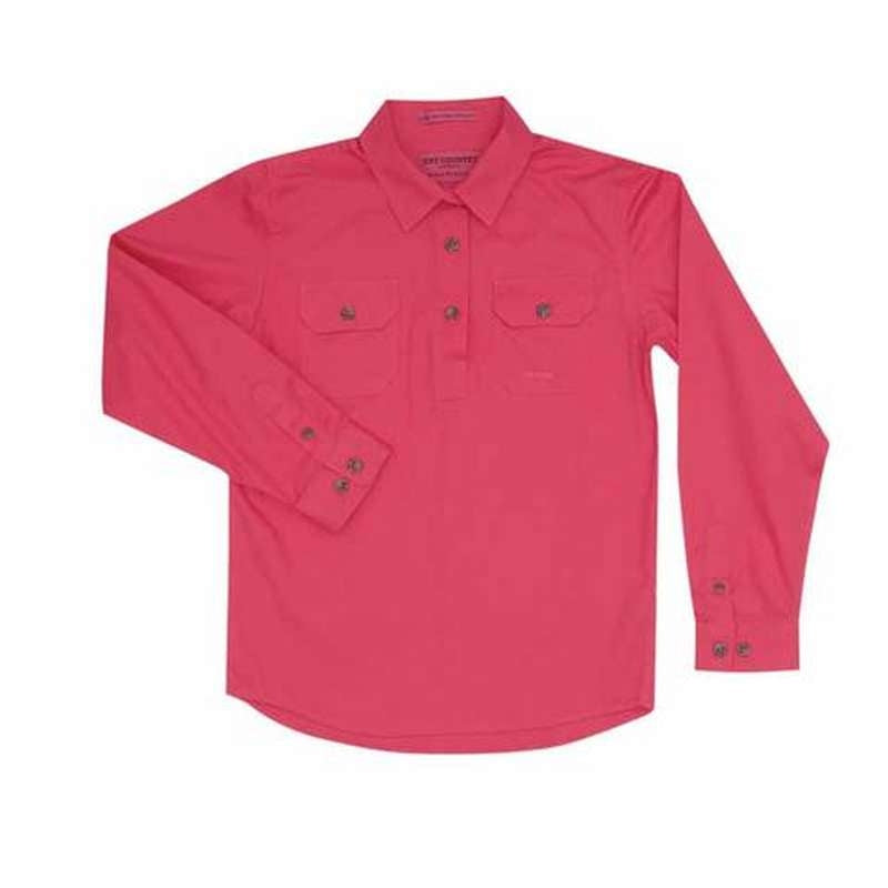 JCA GIRLS KENZIE WORK SHIRT HOT PINK