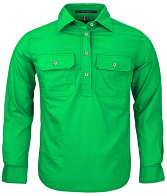 RITEMATE PILBARA KIDS CLOSED FRONT SHIRT EMERALD