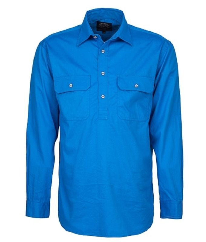 RITEMATE PILBARA MENS CLOSED FRONT L/W SHIRT BLUE