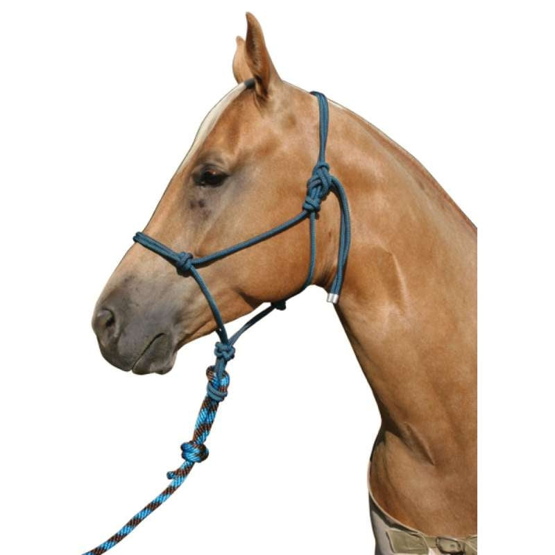 Professional's Choice Rope Halter & 3m Lead Choc/Turquoise