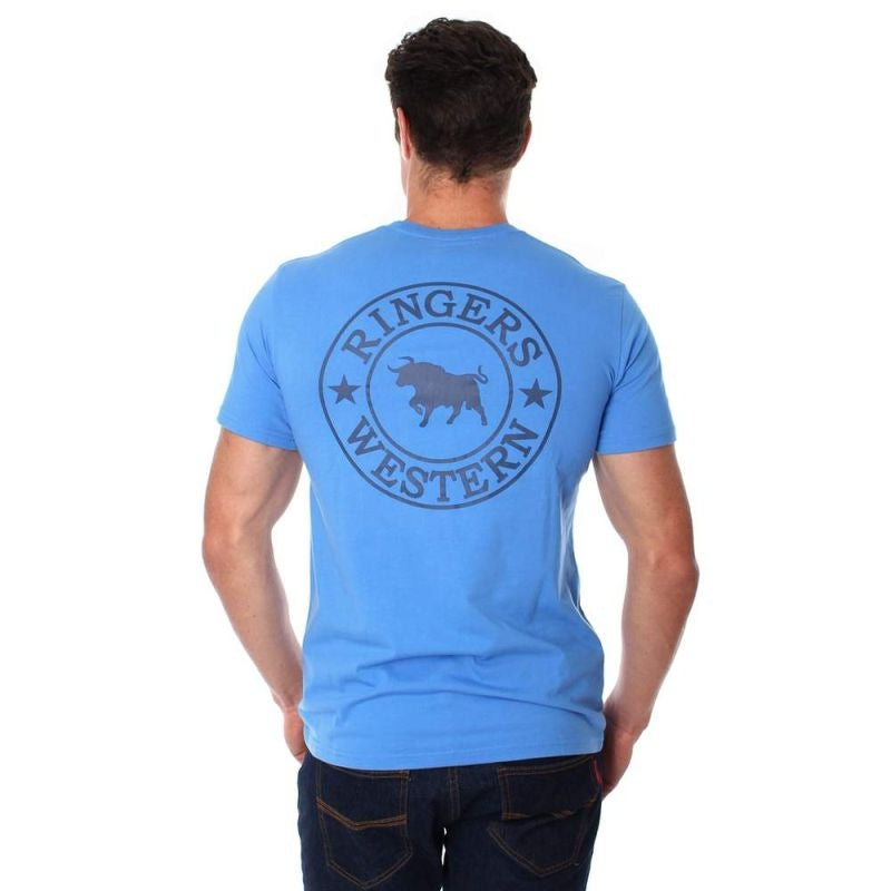 RINGERS WESTERN MENS SIGNATURE BULL T-SHIRT BLUE FRONT