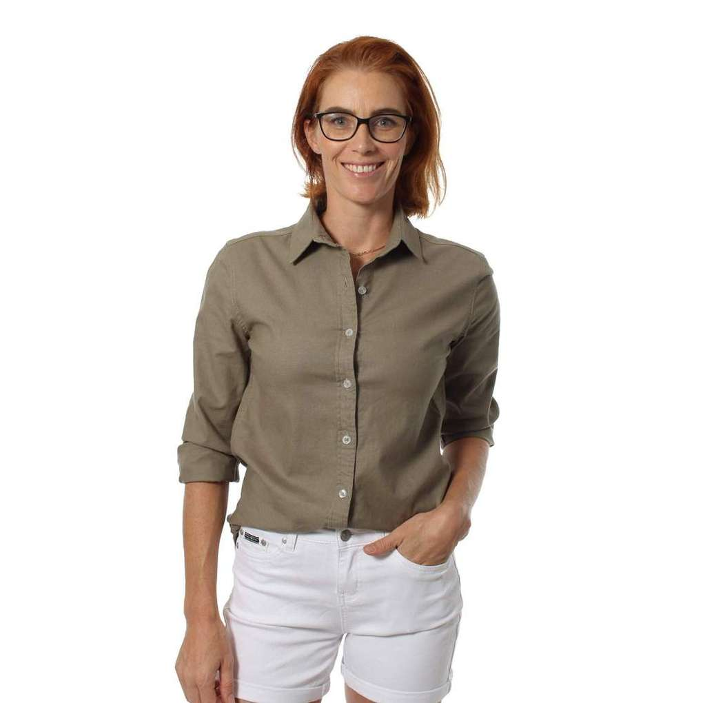 RINGERS WESTERN LADIES NELSON STRETCH LINEN DRESS SHIRT