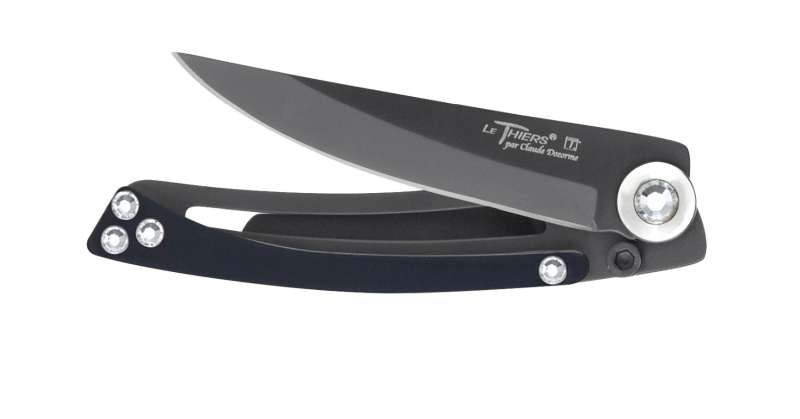 THIERS LINER LOCK KNIFE BLACK WITH SWAROVSKI CRYSTALS