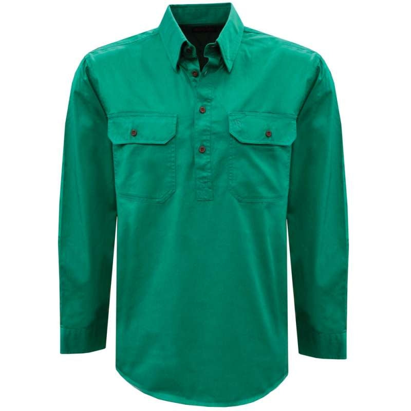 THOMAS COOK LIGHT DRILL 1/2 PLACKET SHIRT GREEN