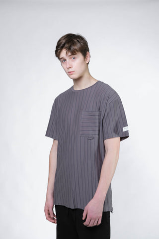 Stripe Pocket Tee (Grey/Navy) - [MIGO Menswear]