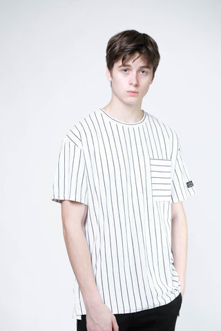 Stripe Pocket Tee (White/Navy) - [MIGO Menswear]