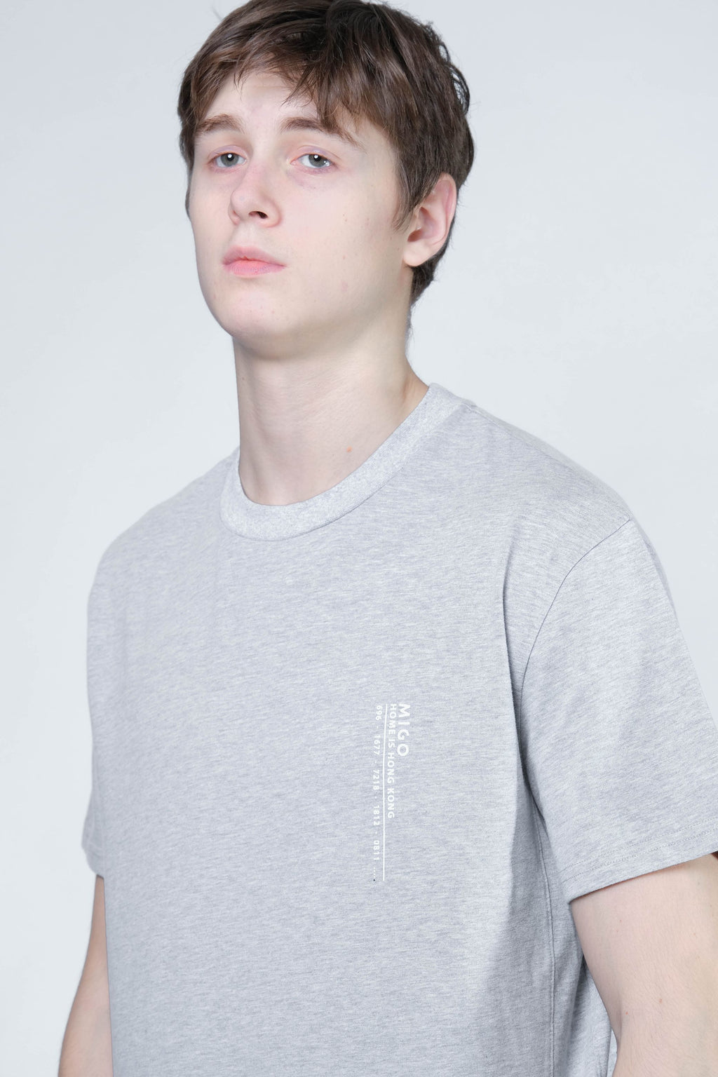 Hong Kong Side Split Tee (Grey Melange) - MIGO
