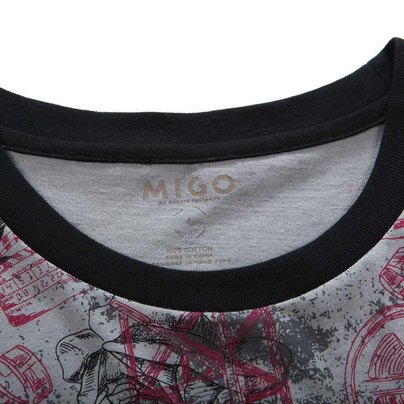 Cotton Pattern Crew Neck Tee (Horror Grey) - [MIGO Menswear]