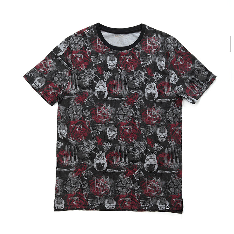 Cotton Pattern Crew Neck Tee (Horror Black) - MIGO