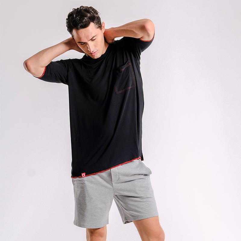 Oversize Pima Cotton Raglan Tee (Black with Red Stitches) - MIGO