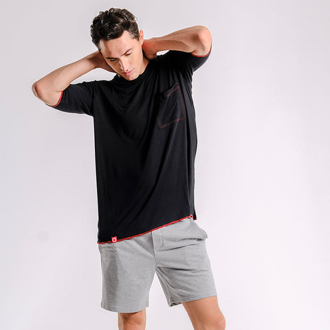 Oversize Pima Cotton Raglan Tee (Black with Red Stitches) - [MIGO Menswear]