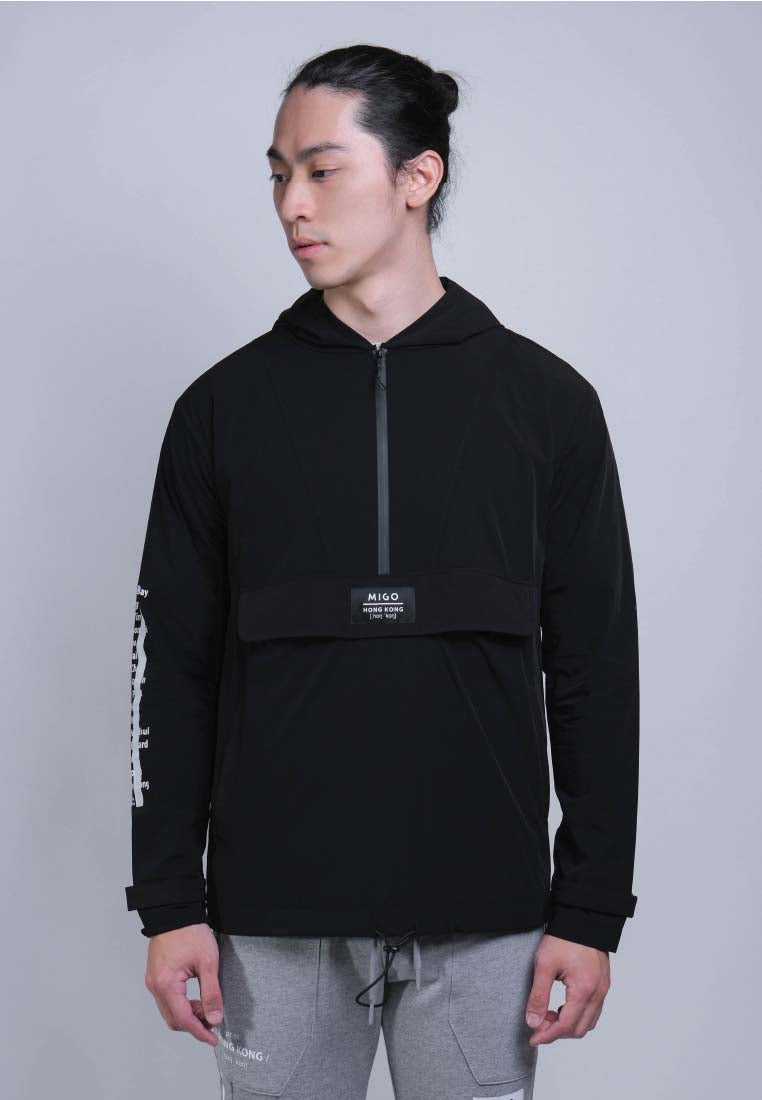 Front Zip Windbreaker (Black) - [MIGO Menswear]