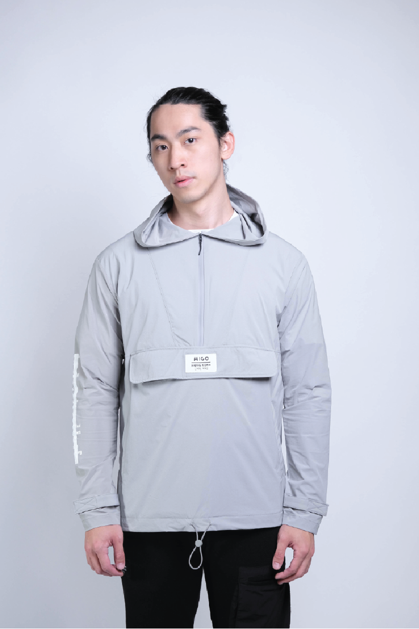 Front Zip Windbreaker (Grey) - [MIGO Menswear]