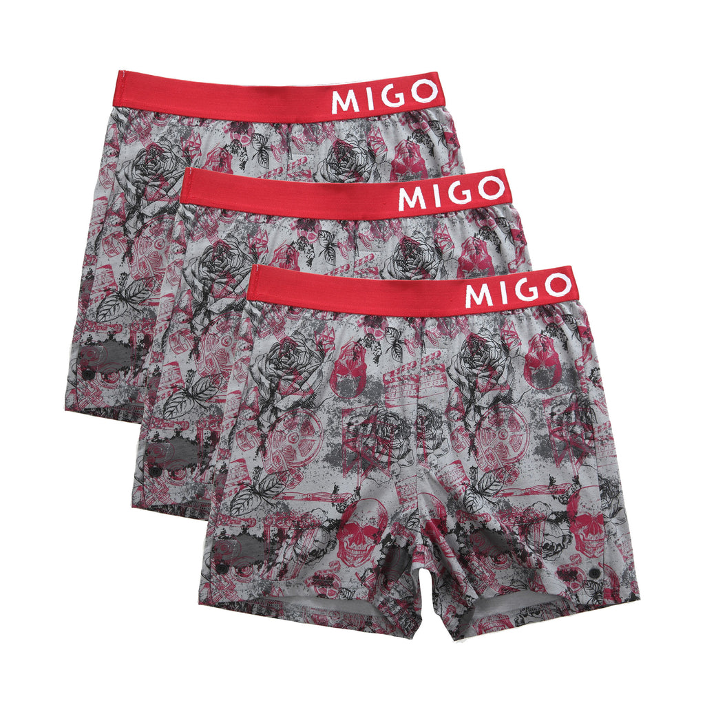 Horror Grey L Boxer 3 in 1 - [MIGO Menswear]