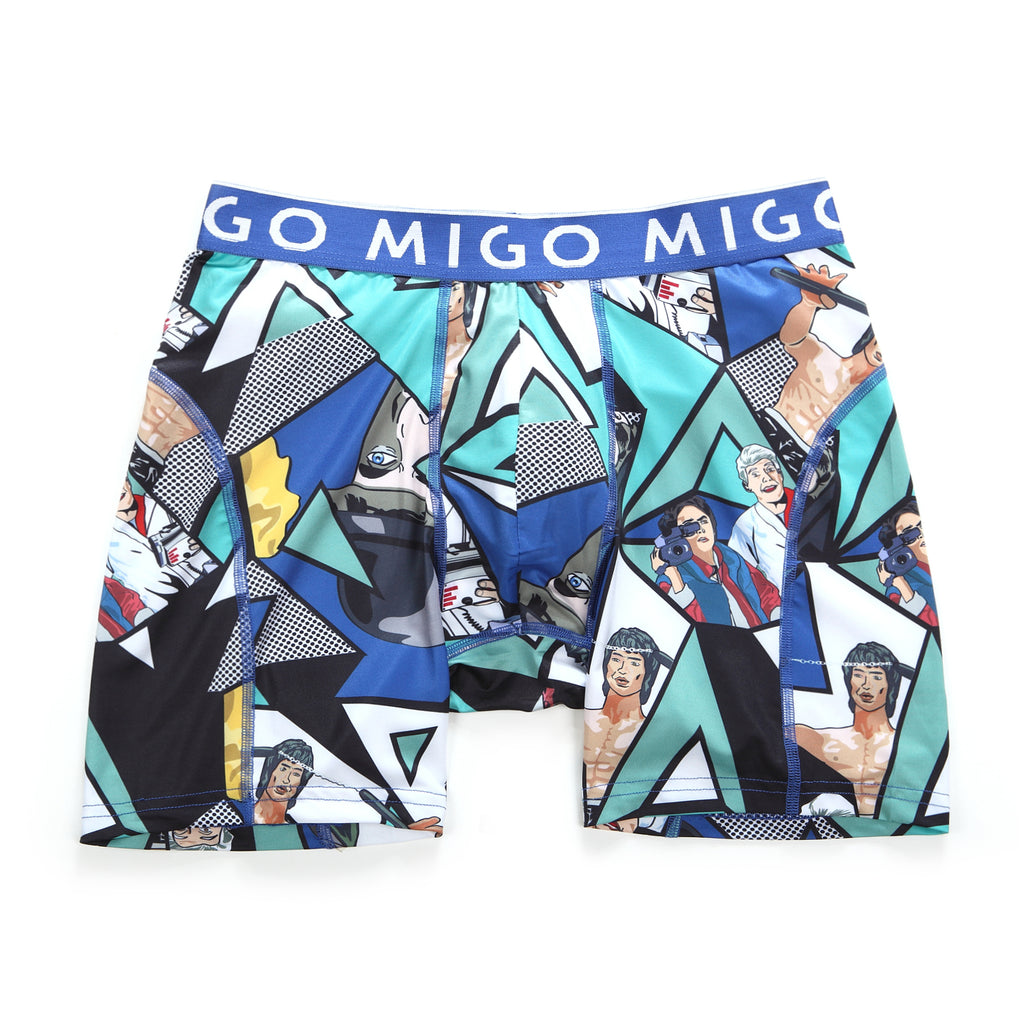 Micro Fibre Pattern Athlete Boxer Brief (Scene Blue) - MIGO