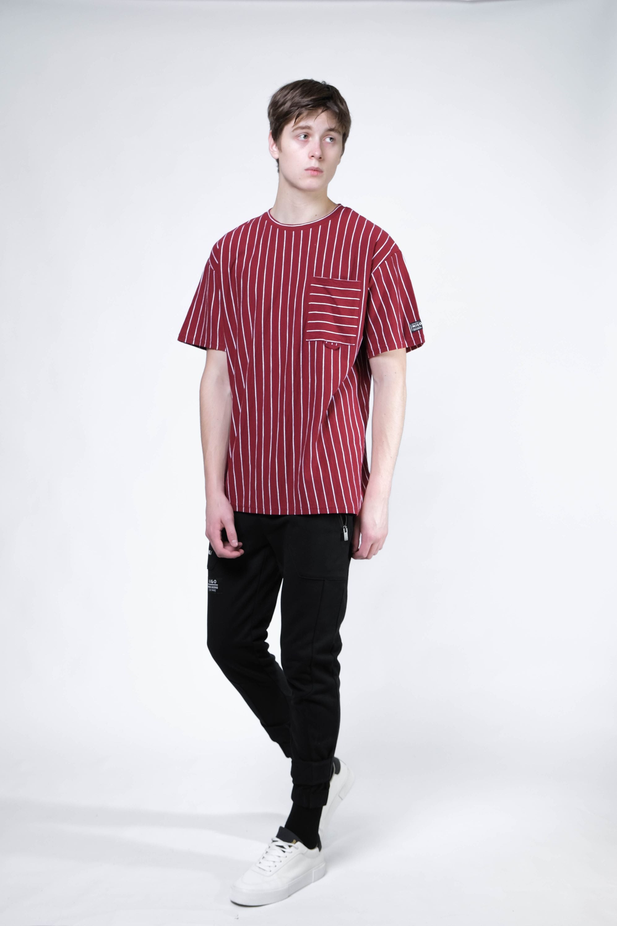 Stripe Pocket Tee (Red/White) - MIGO