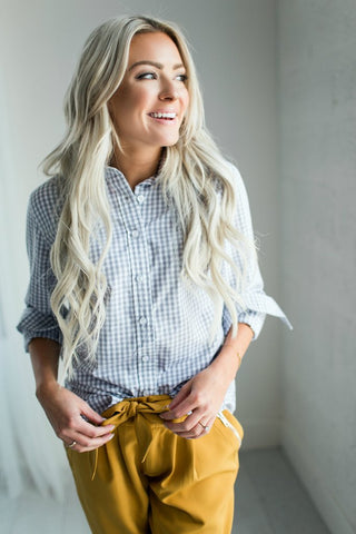 Gingham Button Down - Grey