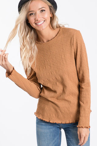 The Smocking Long Sleeve - Camel