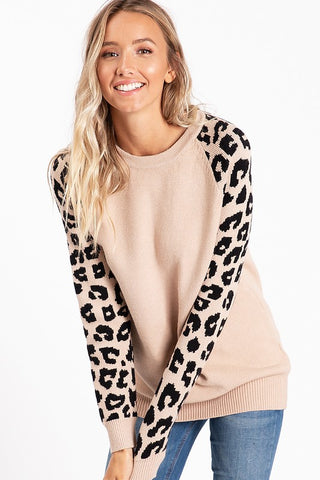 Leopard Sleeve Sweater