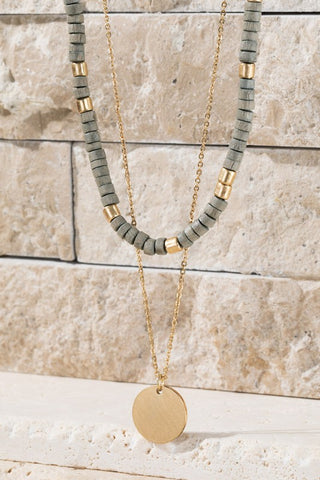 Wooden Bead Necklace - Grey/Gold
