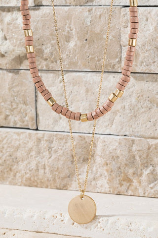 Wooden Bead Necklace - Mauve/Gold