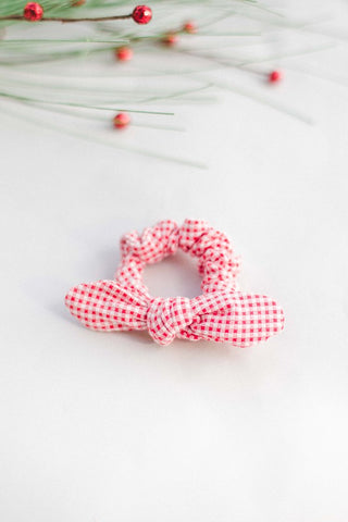 Red Gingham Scrunchie Bow