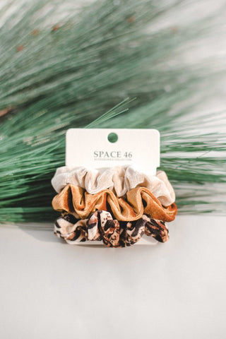 Leopard, Gold & Cream Scrunchie Set