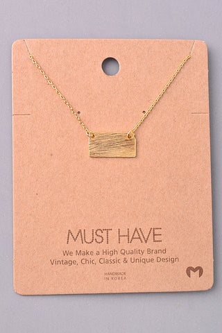 Mini Bar Charm Necklace - Gold